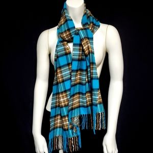 D&Y Softer than Cashmere Blue & Brown Plaid Scarf